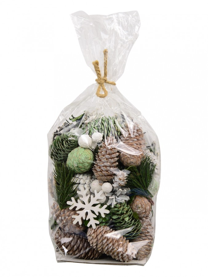 Bag Of Decorative Natural, Green & Pine Cones With Snowflakes & Bells - 350g
