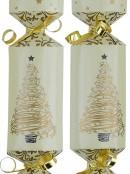 Cream With Gold Christmas Tree & Stars Christmas Cracker Bon Bons - 50 x 26cm