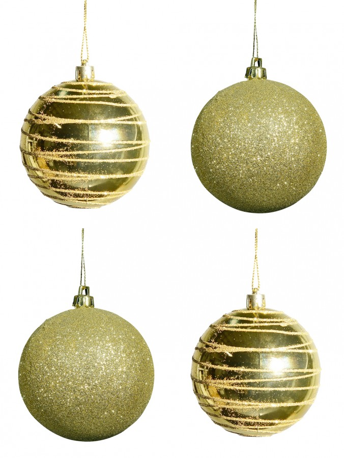Soft Gold Glitter & Soft Metallic Gold With Gold Glitter Lines Baubles - 4 x 80mm