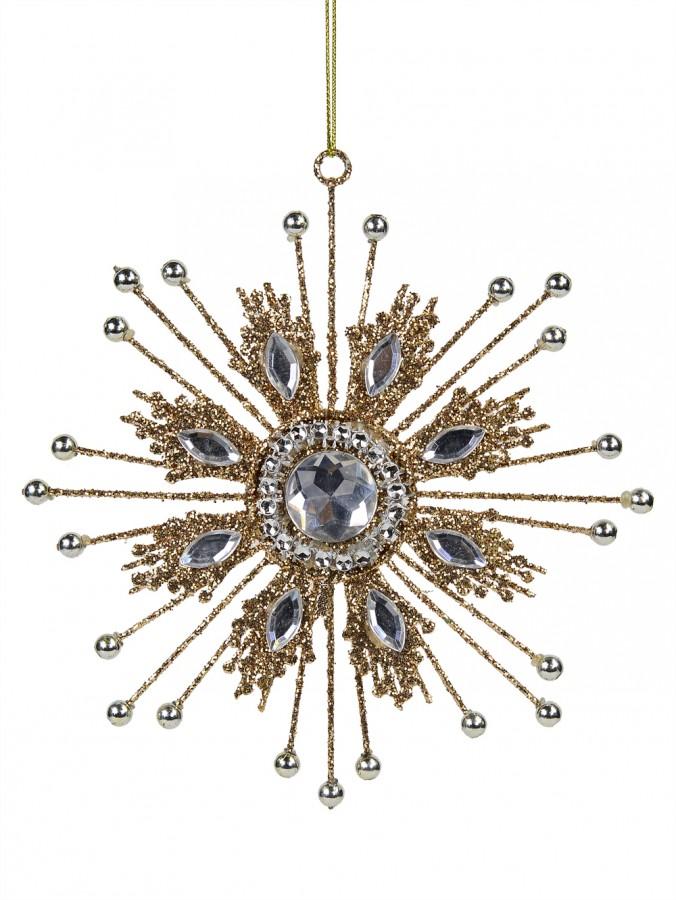 Gold Metal Jewellery Look Snowflake Christmas Tree Hanging Decoration - 14cm