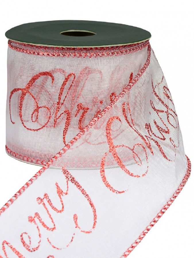Red Glitterd Edged & Merry Christmas Print Sheer White Christmas Ribbon - 3m