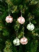 Pink & Mint Green Matte Frost Glitter Baubles - 12 x 60mm