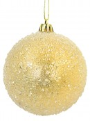 Encrusted & Snowflake Design Soft Gold Baubles - 4 x 80mm