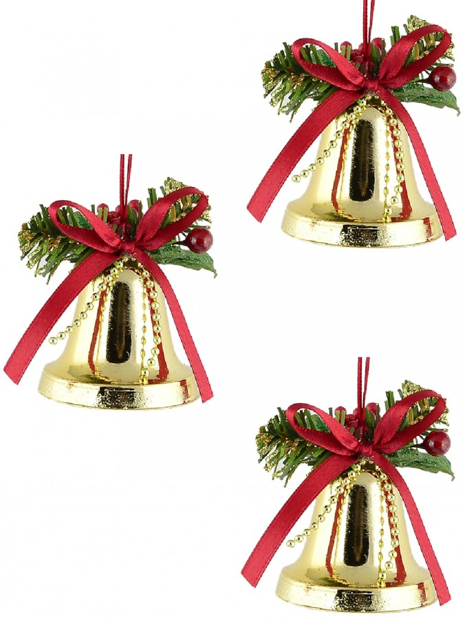 Hanging Decorative Gold Christmas Bell Ornament - 3 x 50mm