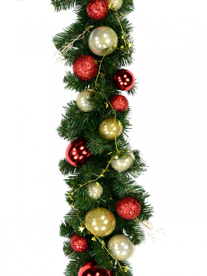 Decorated Red & Gold Bauble, Ribbon & Twigs Pine Garland - 2.7m