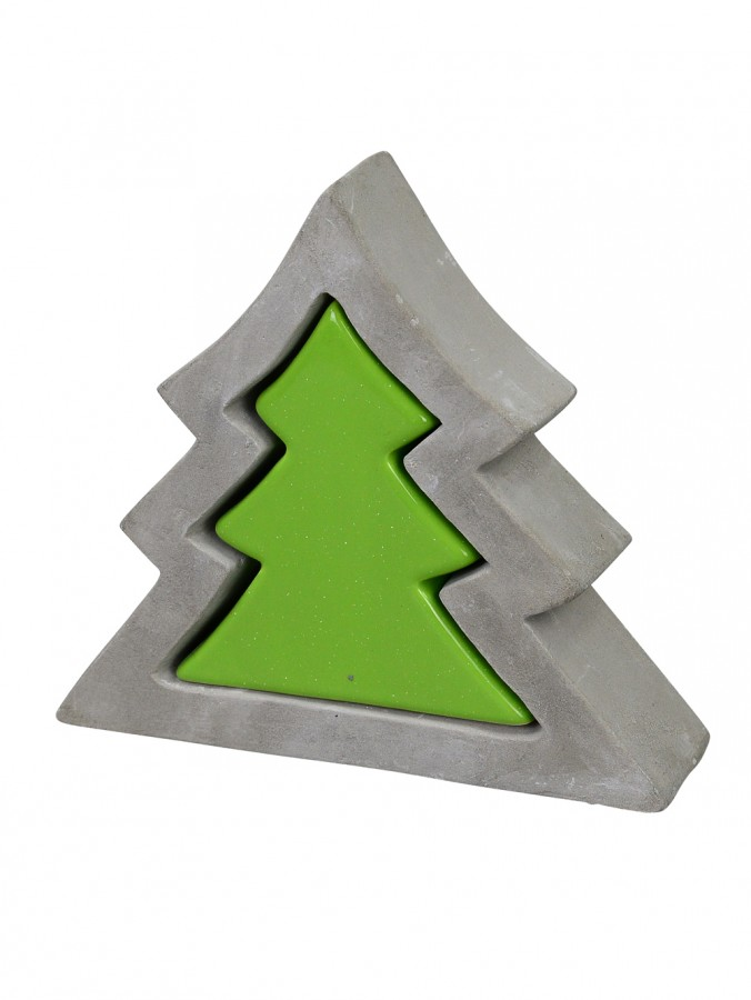 Ceramic & Concrete Look Double Christmas Tree Ornament In Green & Grey - 18cm