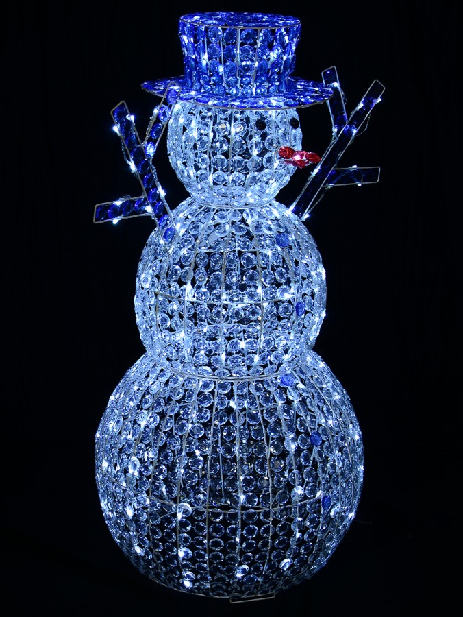 Cool White LED Crystal 3D Winter Snowman With Top Hat - 1.2m