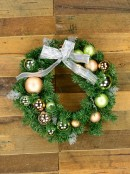 Pre-Decorated Antique Mint & Antique Rose Baubles Pine Wreath - 44cm