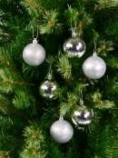 Matte & Metallic Silver & Soft Silver Glitter Baubles - 12 x 60mm