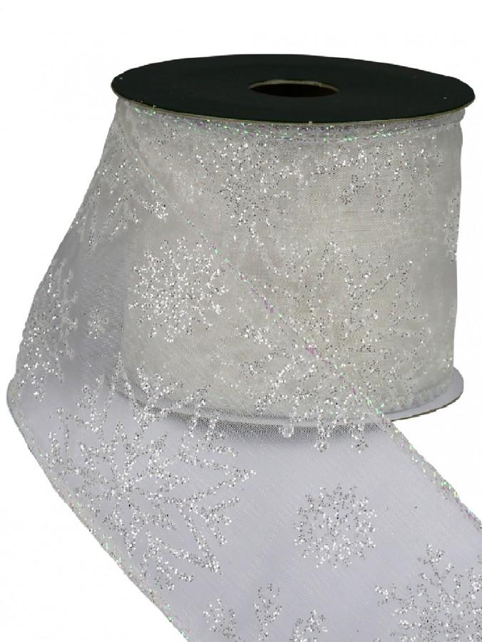 White Glitter Edged & Snowflake Pattern Sheer White Christmas Ribbon - 3m