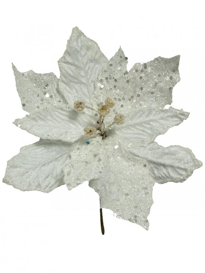 White Sequin & Fabric Petal Decorative Poinsettia Floral Pick - 16cm