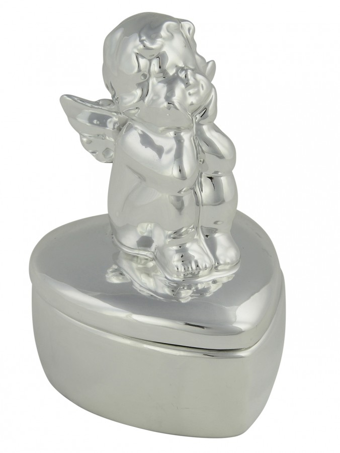 Silver Ceramic Cupid On Heart Shaped Box Keepsake Ornament - 13cm