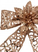 Rose Gold Glittered Mesh Look Ribbon Bow Decoration With Poinsettia - 15cm