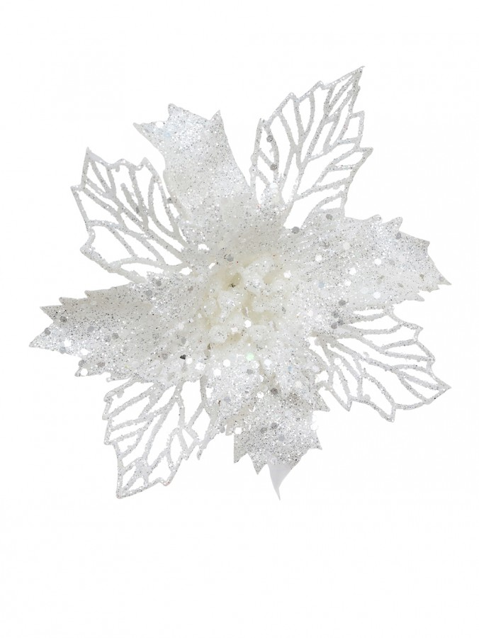 Iridescent Glittered White Poinsettia Pick With Two Style Leaves - 18cm