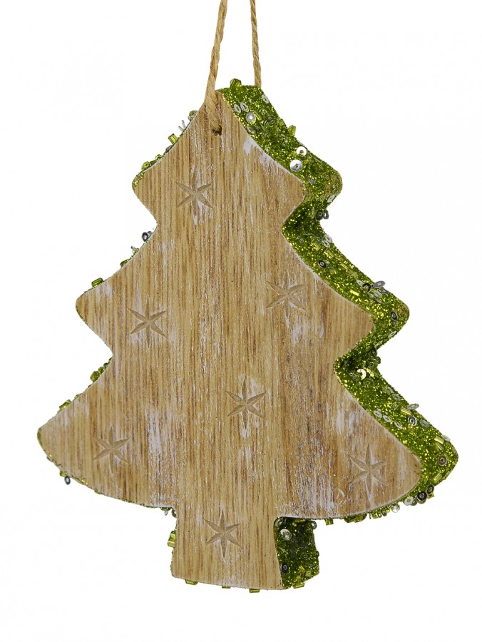 Wood Christmas Tree Hanging Ornament with Green Glitter Trim and Carved Star Print - 12cm