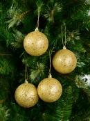 Gold Metallic Sequins & Glitter Coated Baubles - 4 x 80mm
