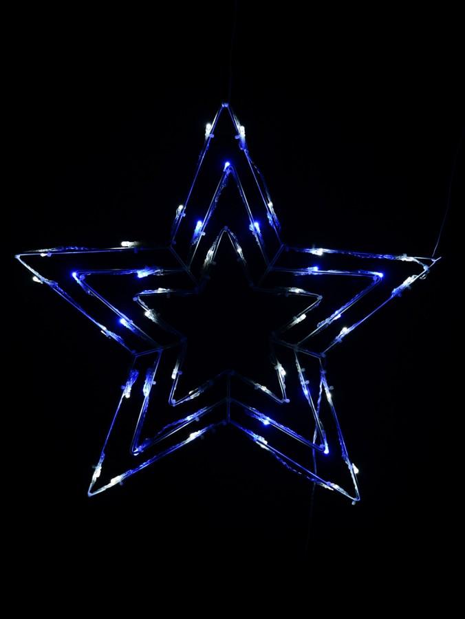 Blue & Cool White LED Triple Star Light - 50cm