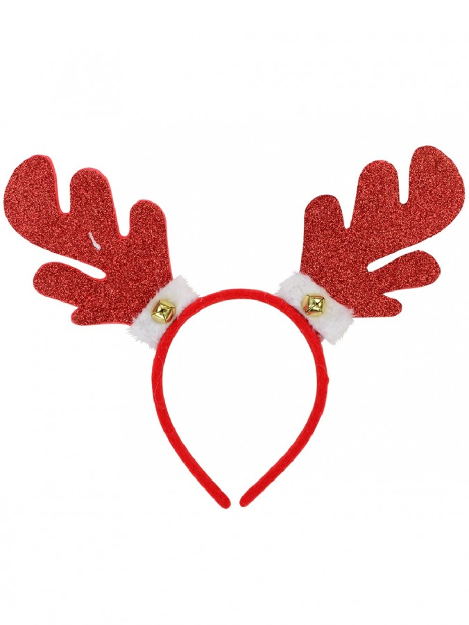Glittered Rubber Reindeer Antlers Headband With Bell & Fluffy Cuff - 30cm