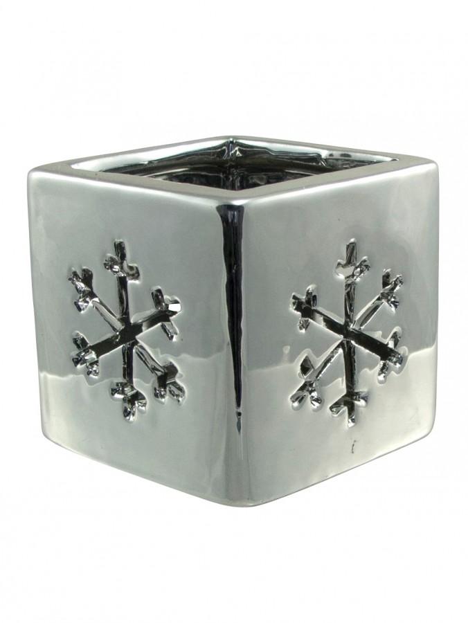 Shiny Winter Ceramic Snowflake Tea Light Holder - 80mm