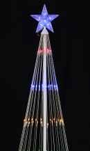 Multi Colour LED String Light Conical Christmas Tree With Blue Star - 1.9m