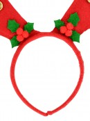 Red Felt Reindeer Antlers Headband With Mistletoe & Functioning Bells - 30cm