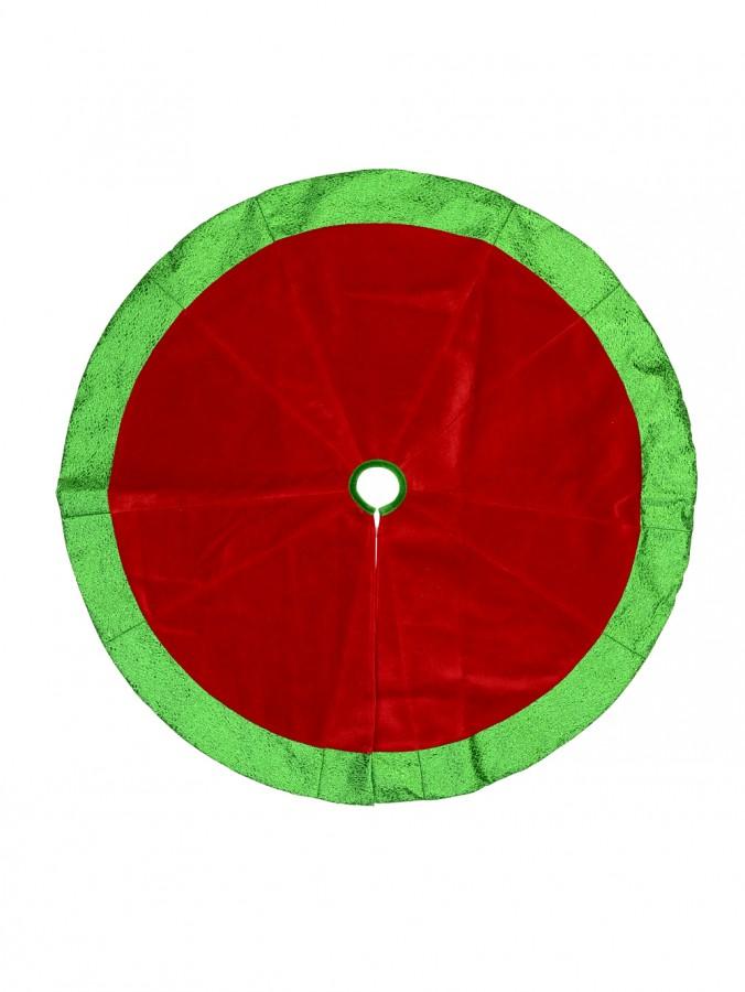 Red Velvet Tree Skirt With Metallic Green Border - 1.2m