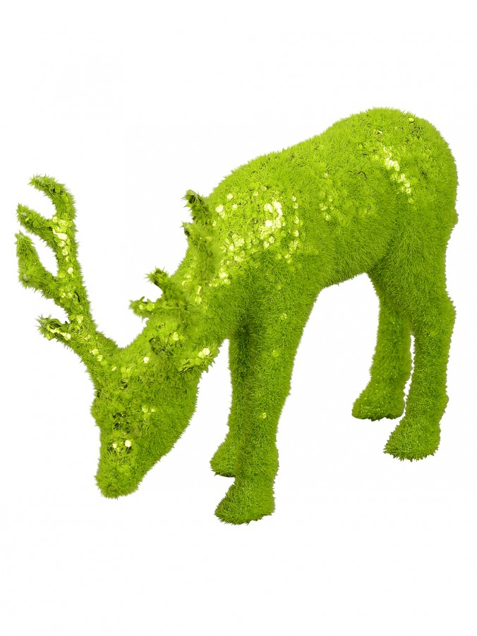 Feeding Lime Green Sequined Forest Reindeer Ornament - 18cm