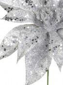 Silver Glittered Decorative Poinsettia Floral Pick - 19cm
