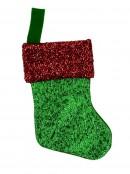 Mini Green & Red Metallic Christmas Stocking Decorations - 6 x 16cm