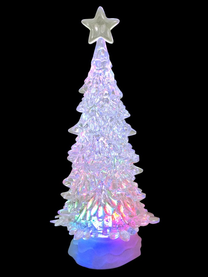 large clear led illuminated tree snow globe ornament 30cm