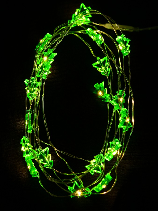 20 Warm White LED Green Christmas Tree Battery String Lights - 1.9m