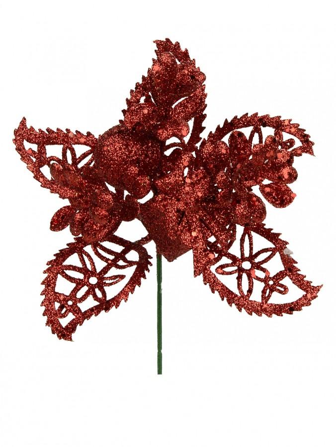 Red Glittered Decorative Leaf, present & berry Floral Pick - 14cm