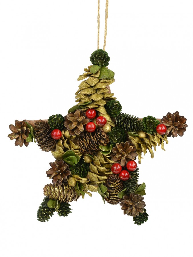 Natural Hanging Star Ornament with Gold Highlights - 27cm