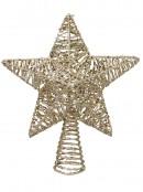 Gold Mesh Look Star Illuminated Warm White Tree Topper Ornament - 30cm