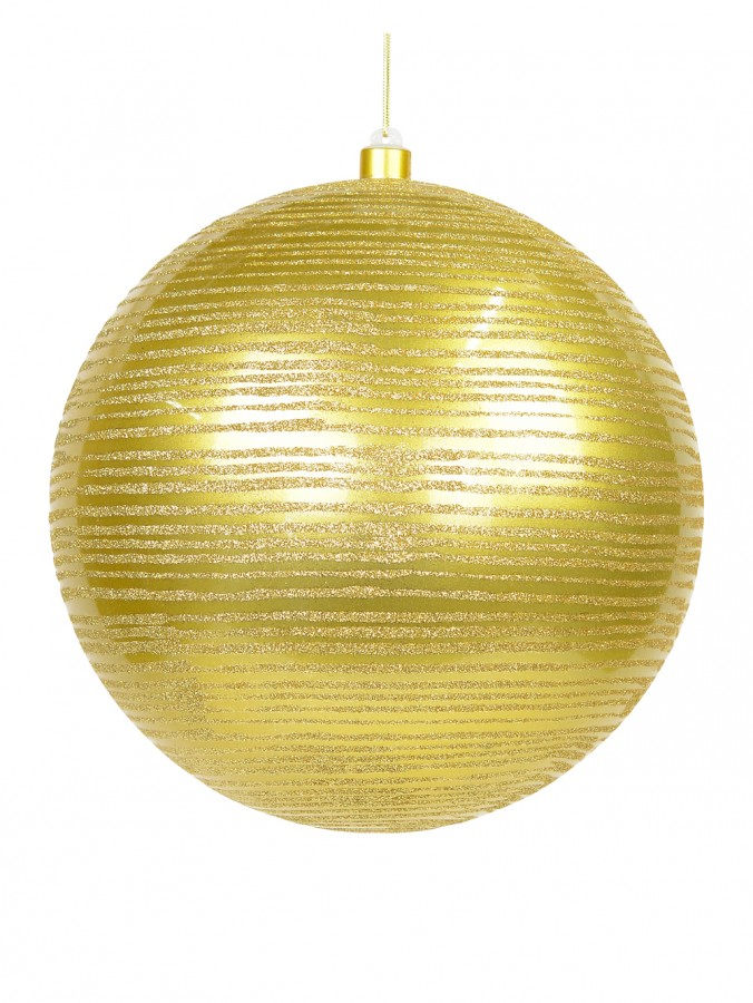Giant Gold Gloss Bauble with Thin Gold Glitter Stripe Design - 25cm