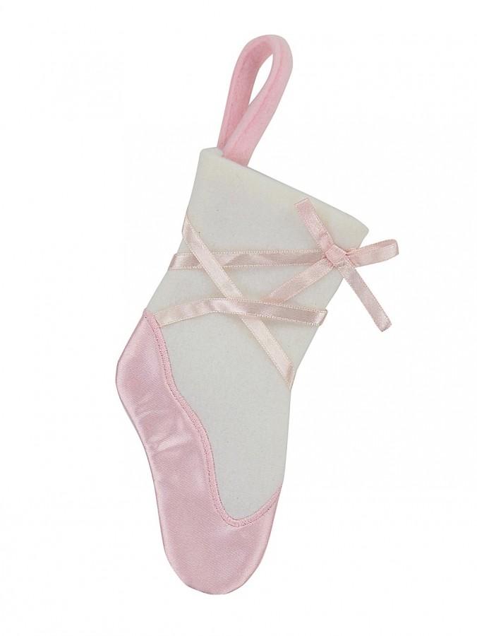 Soft Pink & White Ballet Shoe Design Mini Stockings In Fleece & Satin - 3 x 18cm