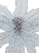 Light Baby Blue Glittered Mesh Leaf Decorative Poinsettia Floral Pick - 28cm