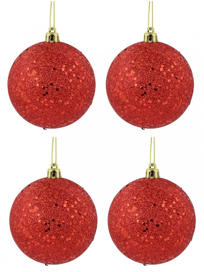 Red Metallic Sequins & Glitter Coated Baubles - 4 x 80mm