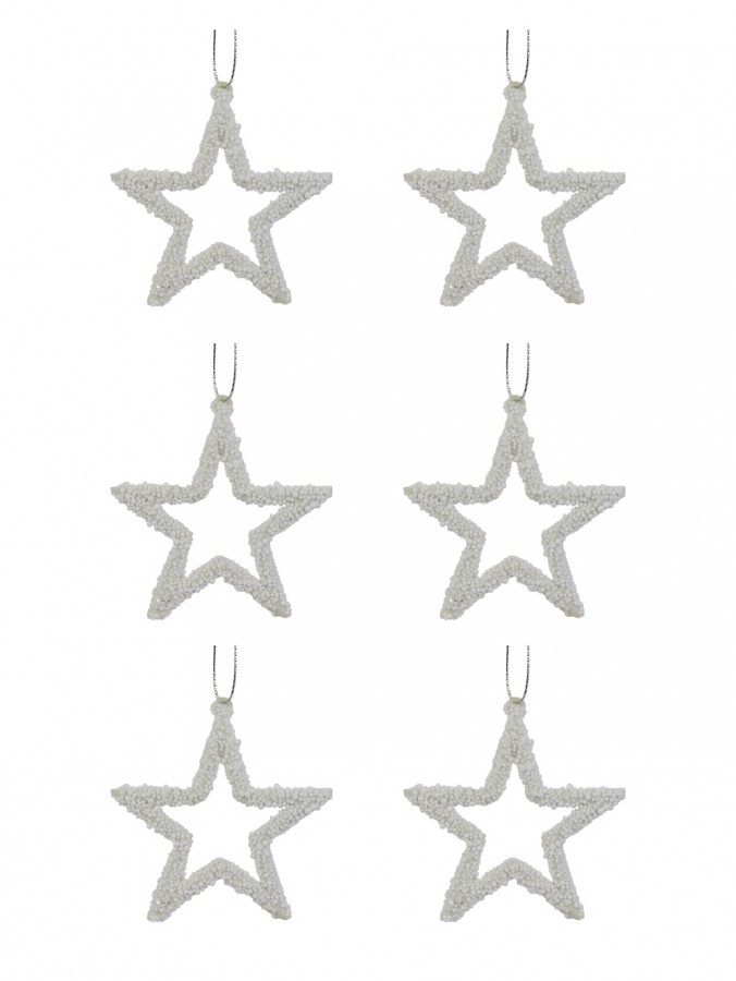 White Star Hanging Ornaments with Bubble Trim Detail - 6 x 70mm