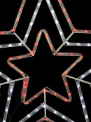 Red & Cool White Triple Christmas Star LED Rope Light Silhouette - 80cm