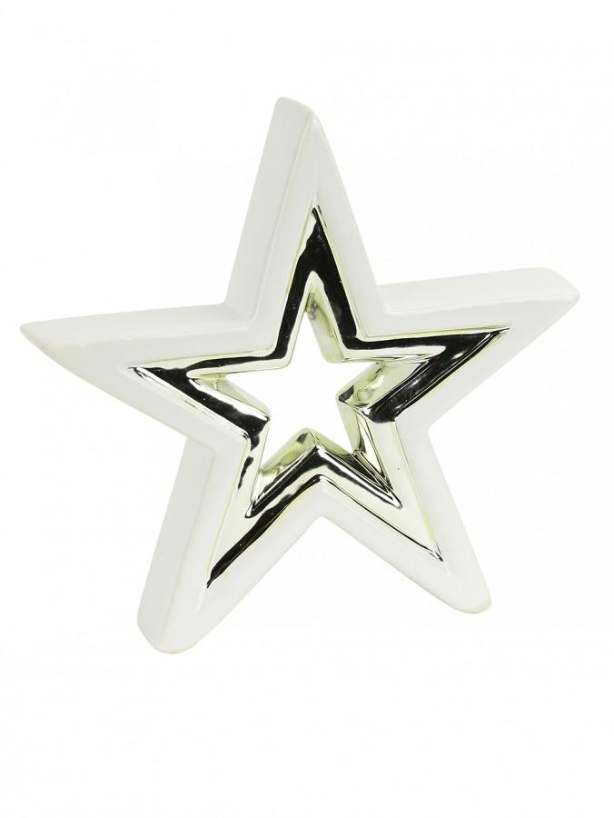 3D White Ceramic Star Ornament With Champagne Accent Stripe - 17cm