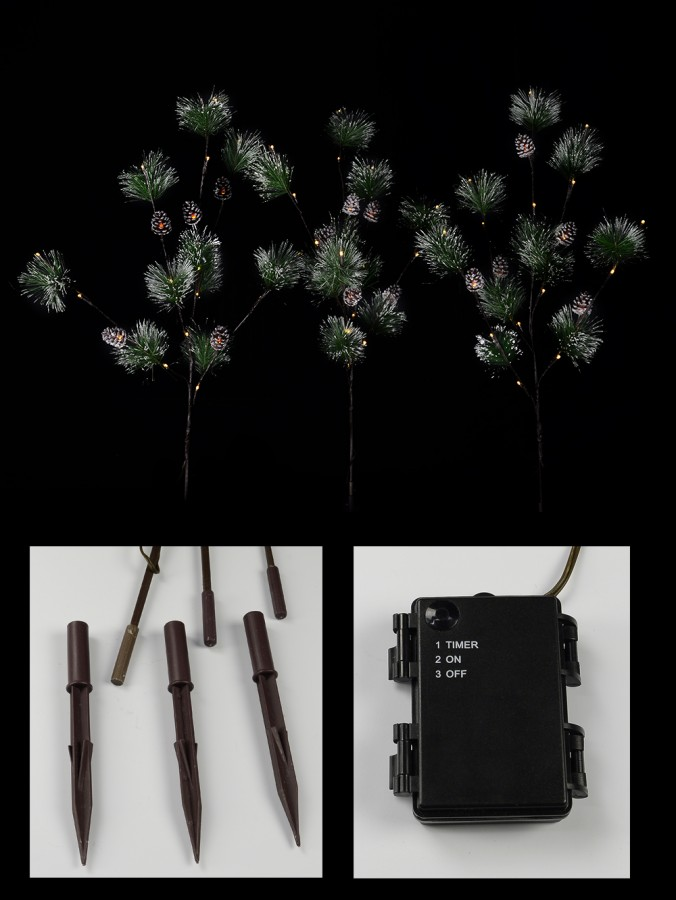 Snow Accented & Warm White LED Pine Branches Stakes - 3 x 93cm