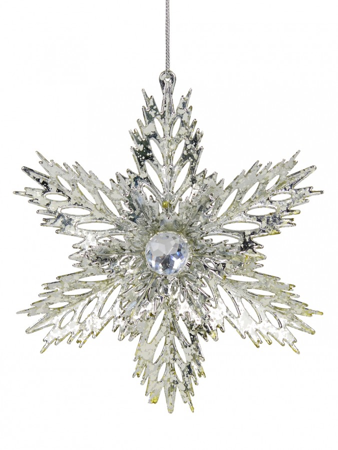 3D Silver Snowflake With Sequins Christmas Tree Hanging Decoration - 15cm