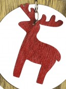 MDF Bow With Red Reindeer Cut-Out Christmas Tree Hanging Decoration - 10cm
