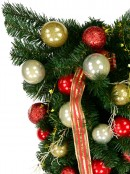 Decorated Red & Gold Bauble, Ribbon & Twigs Pine Teardrop Swag - 90cm