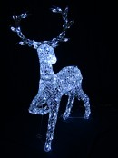 Cool White LED Crystal 3D Winter Reindeer - 1.3m