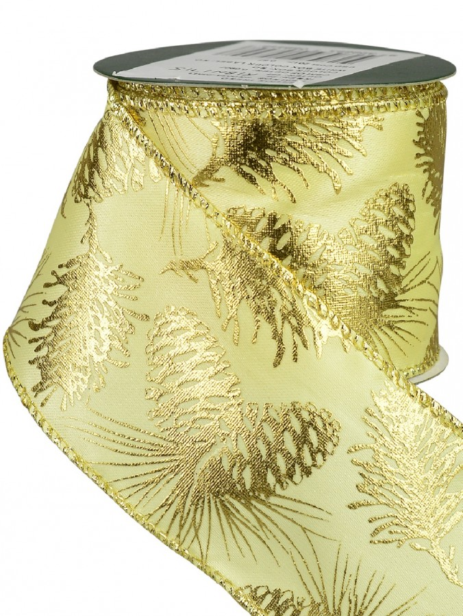 Gold Edged Champagne With Gold Pine Cone Pattern Satin Christmas Ribbon - 3m