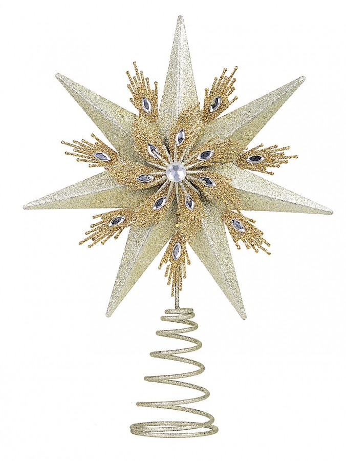 Champagne & Gold Glitter Star Christmas Tree Topper With Jewel - 33cm