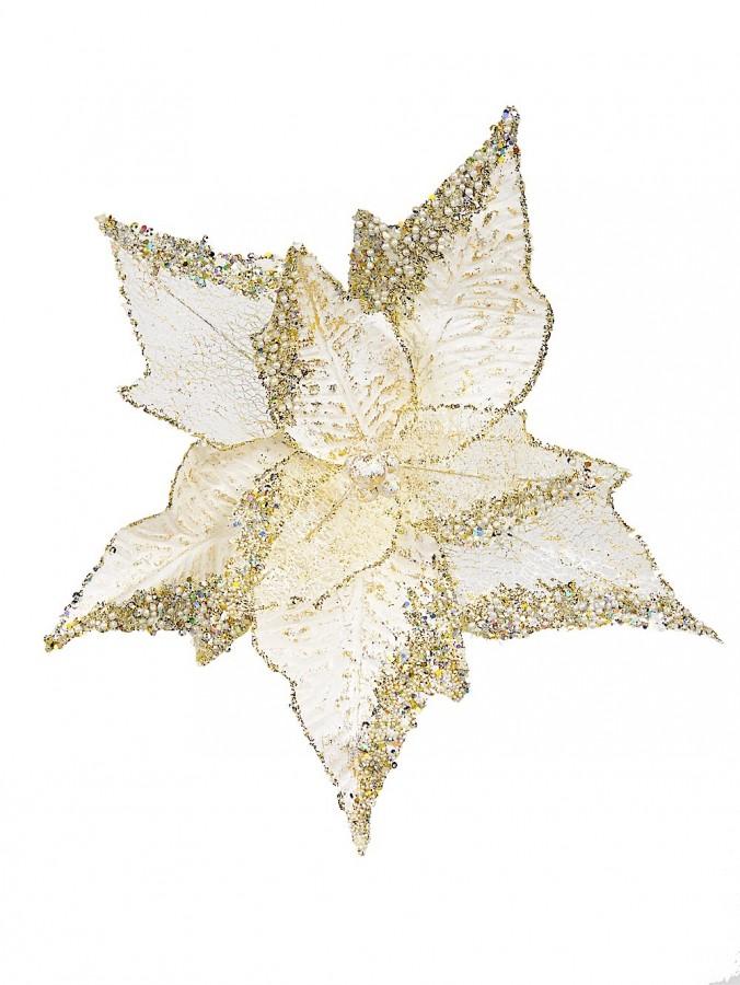 Soft Gold Decorative Poinsettia Floral Pick With Sequin Detail - 32cm