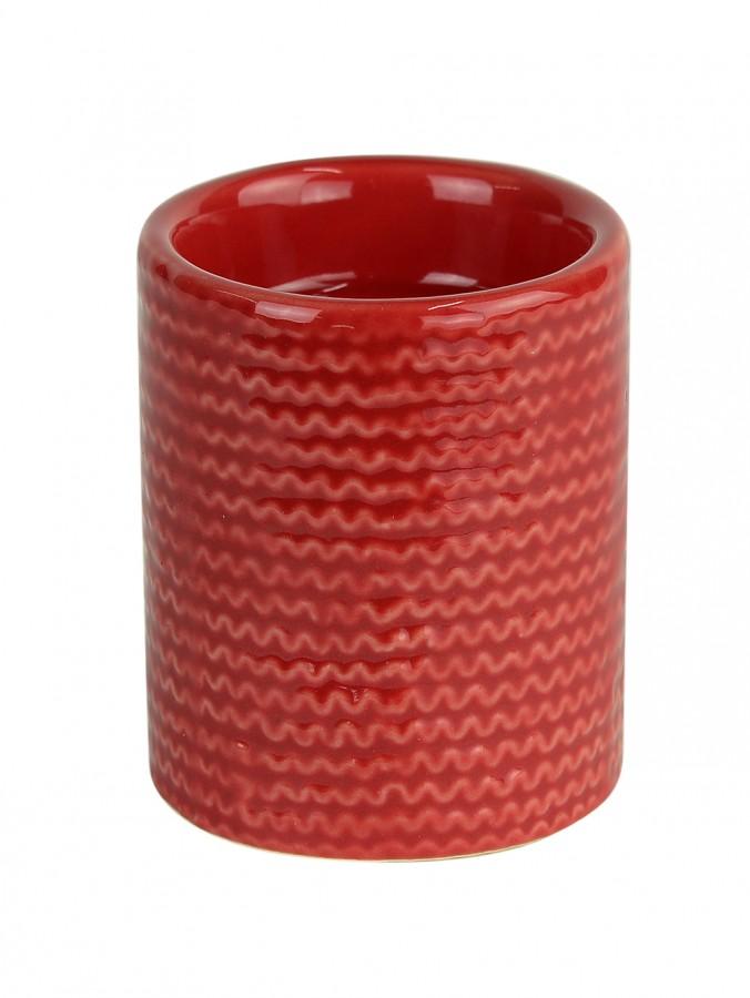 Red Ceramic Pillar Tea Light Holder - 70mm